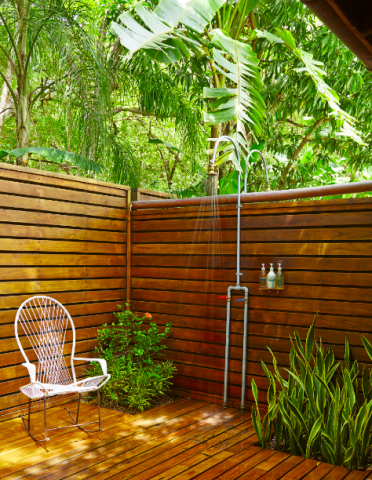 This is the outdoor shower of a Cocos Room at the Harmony Hotel in Nosara