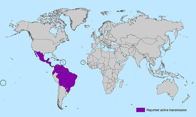 zika world map feb 2016