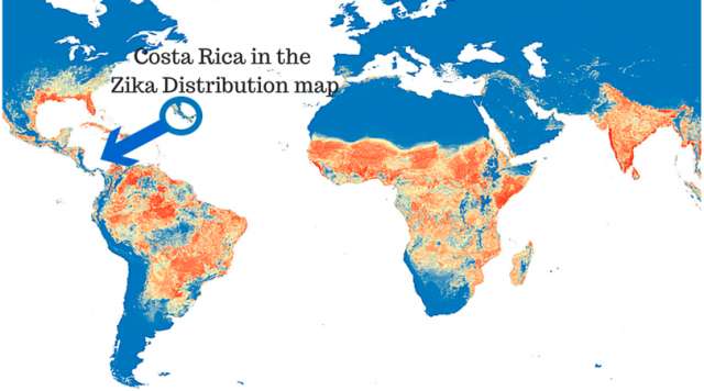 Costa Rica in the Zika Distribution map