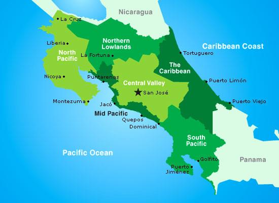 Regions of Costa Rica