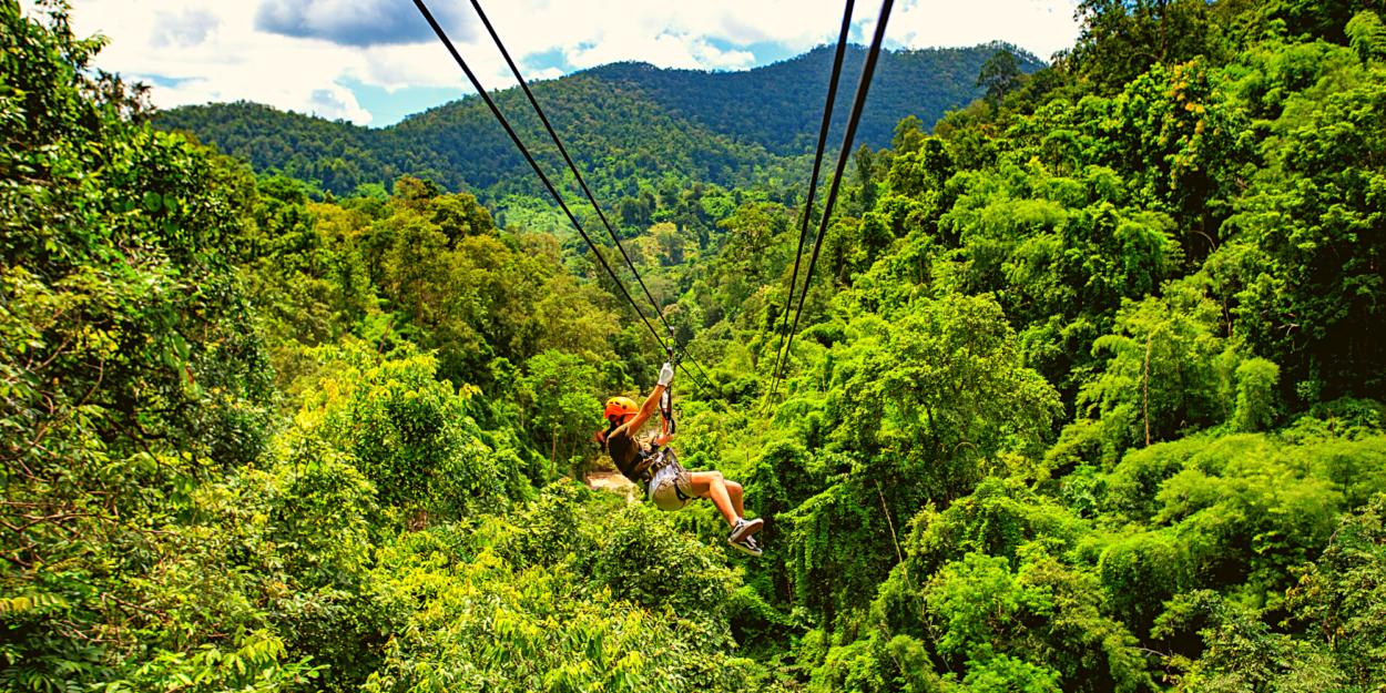 A person ziplining in Costa Rica