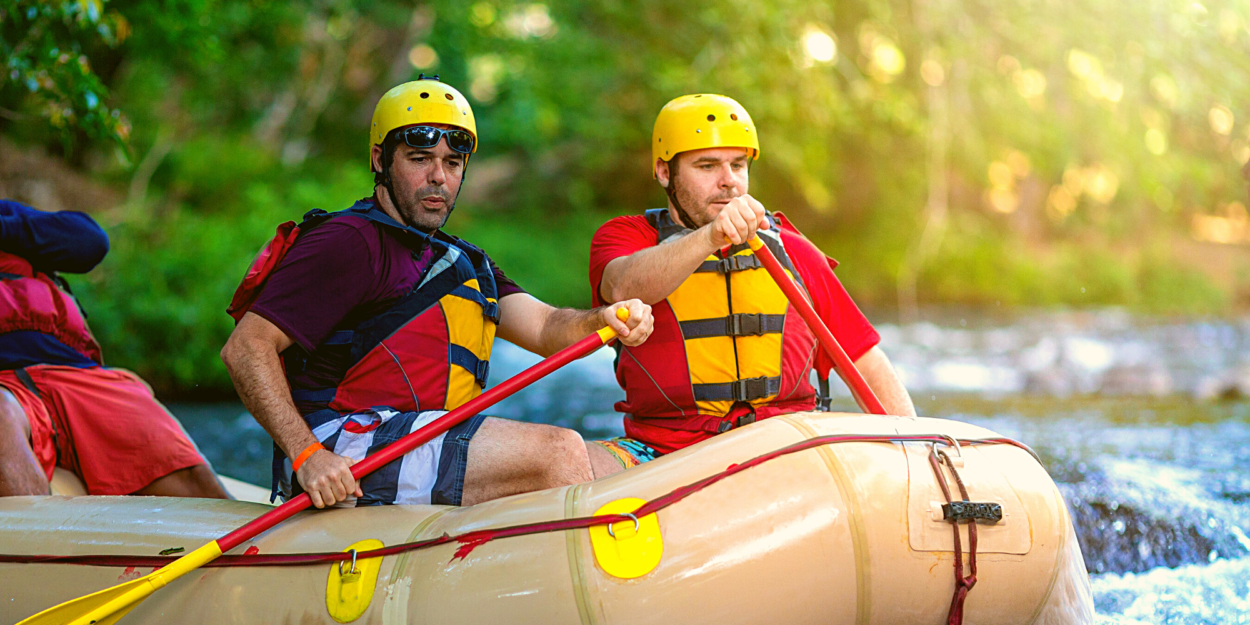 Tourists rafting in Costa Rica