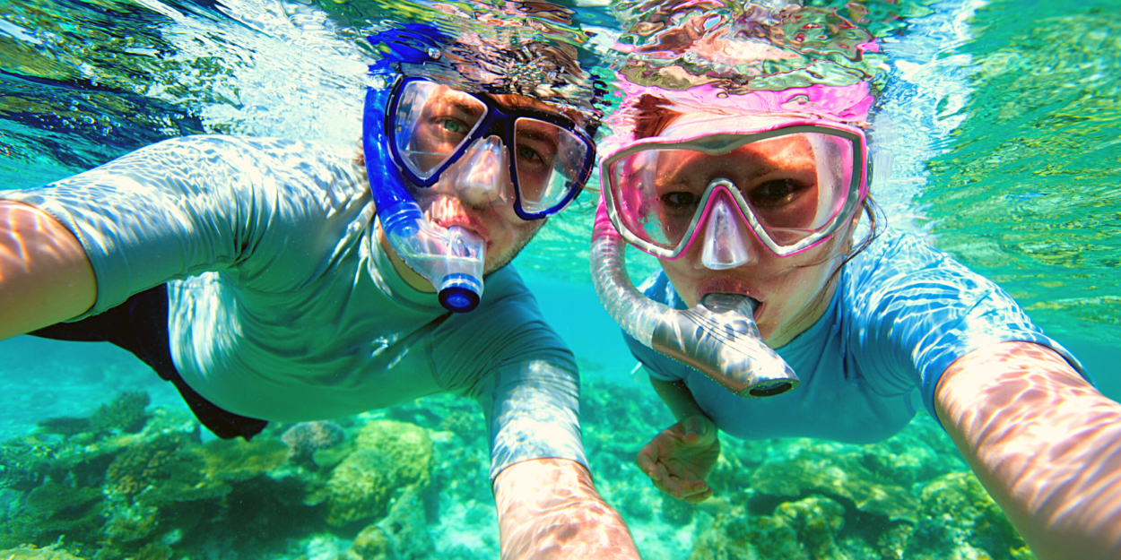 A couple snorkeling in the Costa Rican sea