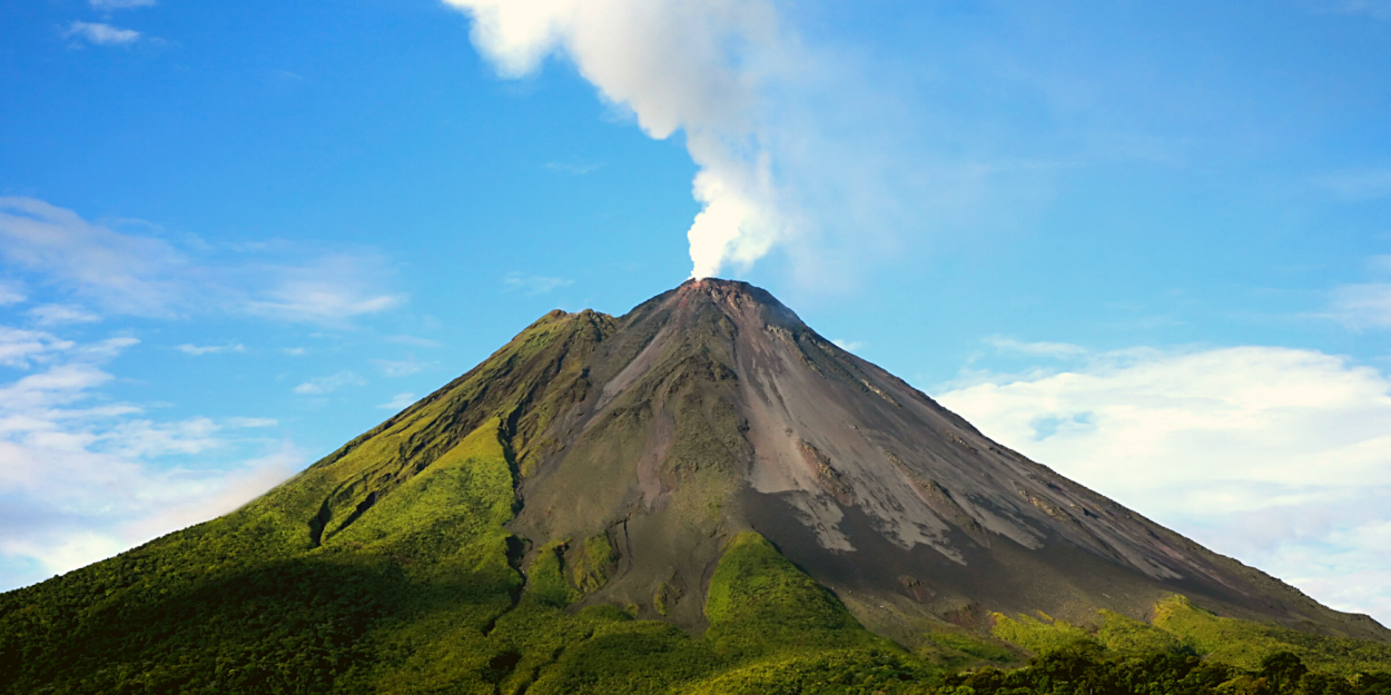 Arenal Volcano with a little smoke rising from the top