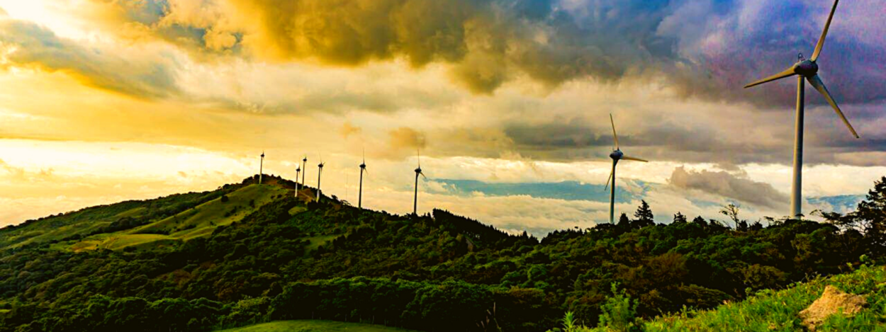 A view of the eolicas of Santa Ana in Costa Rica, at sunset