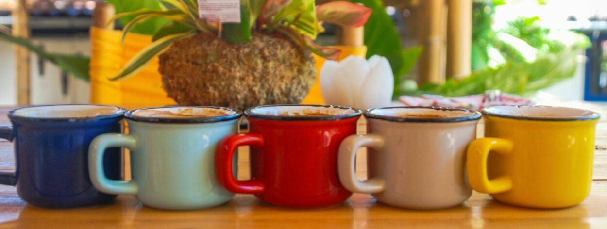 Cups of coffee at the restaurant Sin Domicilio Fijo in San Jose