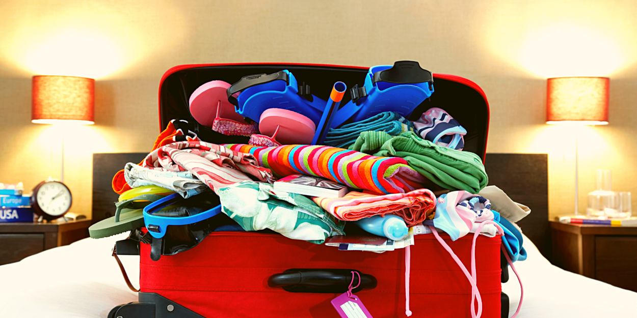 What to pack and what not to pack to avoid a stuffed suitcase, like the one shown