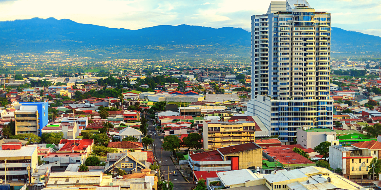 A view of the capital city, San Jose, Costa Rica with the mountains in the background