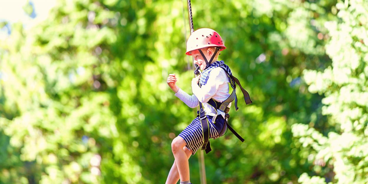 A child ziplining in Costa Rica