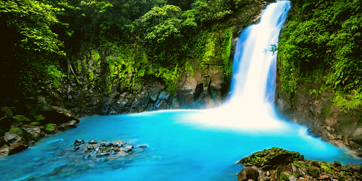 A view of the waterfall on Rio Celeste in the Northern Central Region of Costa Rica