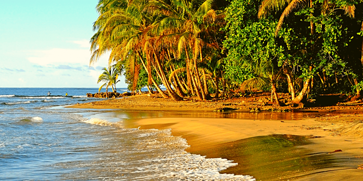 A view of the golden sand near Puerto Viejo in the South Caribbean region of Costa Rica
