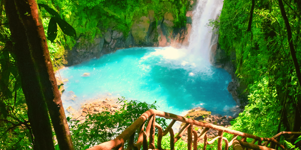 The waterfall of Celeste River at the Tenorio National Park in Costa Rica