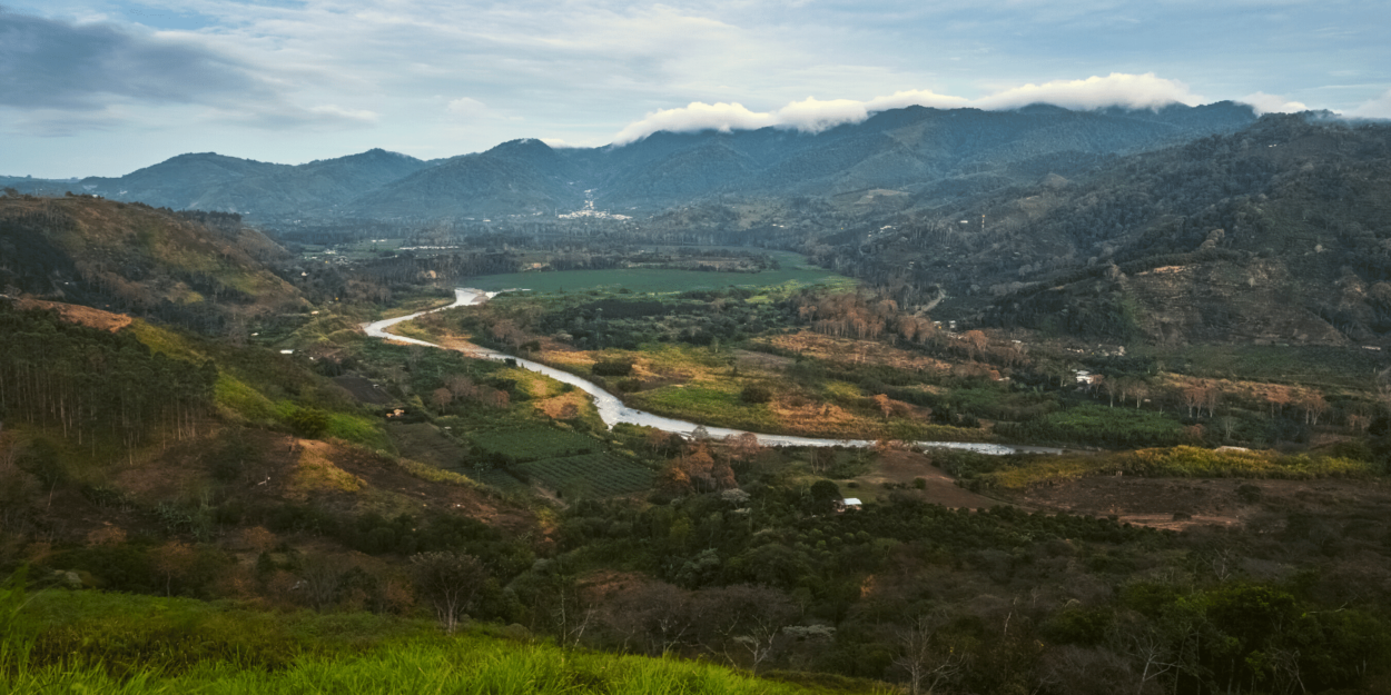 The San Carlos River runs through the Orosi Valley in Costa Rica