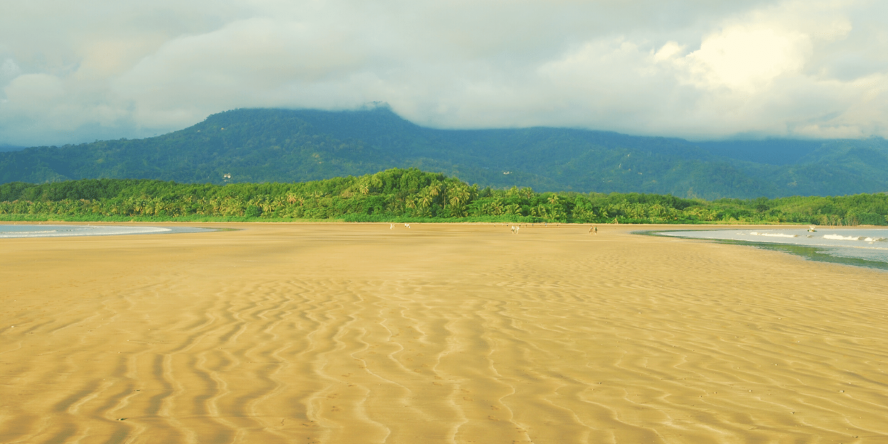 """Uvita area seen from the """"whale tail"""" at Marino Ballena National Park in Costa Rica"""