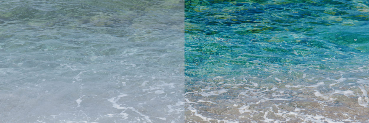 Side by side before and after photo editing of the ocean